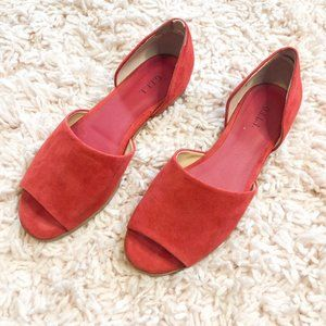 G.I.L.I. Red Open Toe Faux Suede Flat Sandals